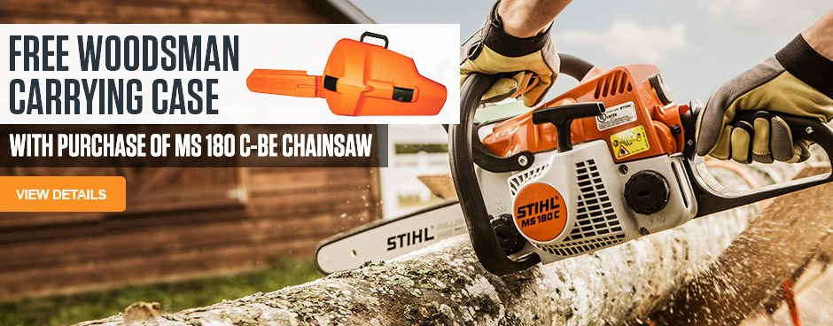 Free Woodsman Carrying Case with purchase of MS 180 C-BE Chainsaw